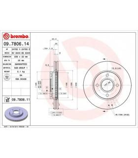 Brembo 09.7806.14 - Disco Freno Anteriore - (COPPIA)