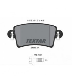 TEXTAR Kit pastiglie freno, con bulloni pinza freno Numero articolo: 2366901