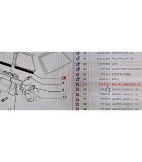7567437 ADESIVO INFERIORE VETRO FISSO PARAFANGO POSTERIORE DESTRO FIAT PANDA 4X4 1.0 B RICAMBIO NUOVO ORIGINALE