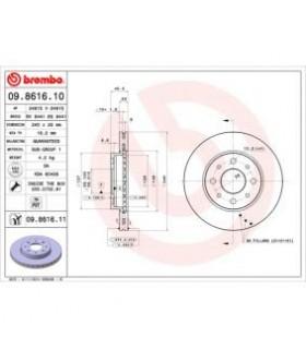Disco freno BREMBO con bulloni/viti, Autoventilato RIF- 09.8616.10 (COPPIA)