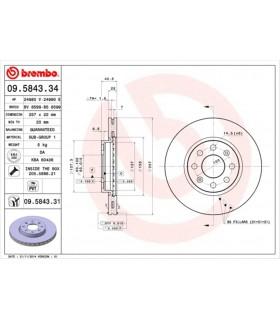 BREMBO 09.5843.34 Disco freno  Autoventilato, con bulloni/viti (coppia)