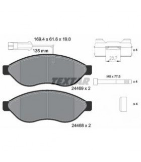 TEXTAR Kit pastiglie freno,con segnalatore usura integrato, con bulloni pinza freno, con accessori Numero articolo: 2446901